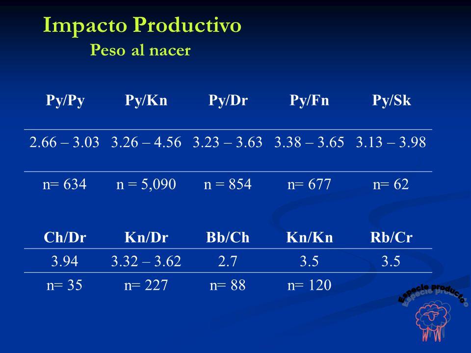 Impacto Productivo Especie producto Peso al nacer Py/Py Py/Kn Py/Dr