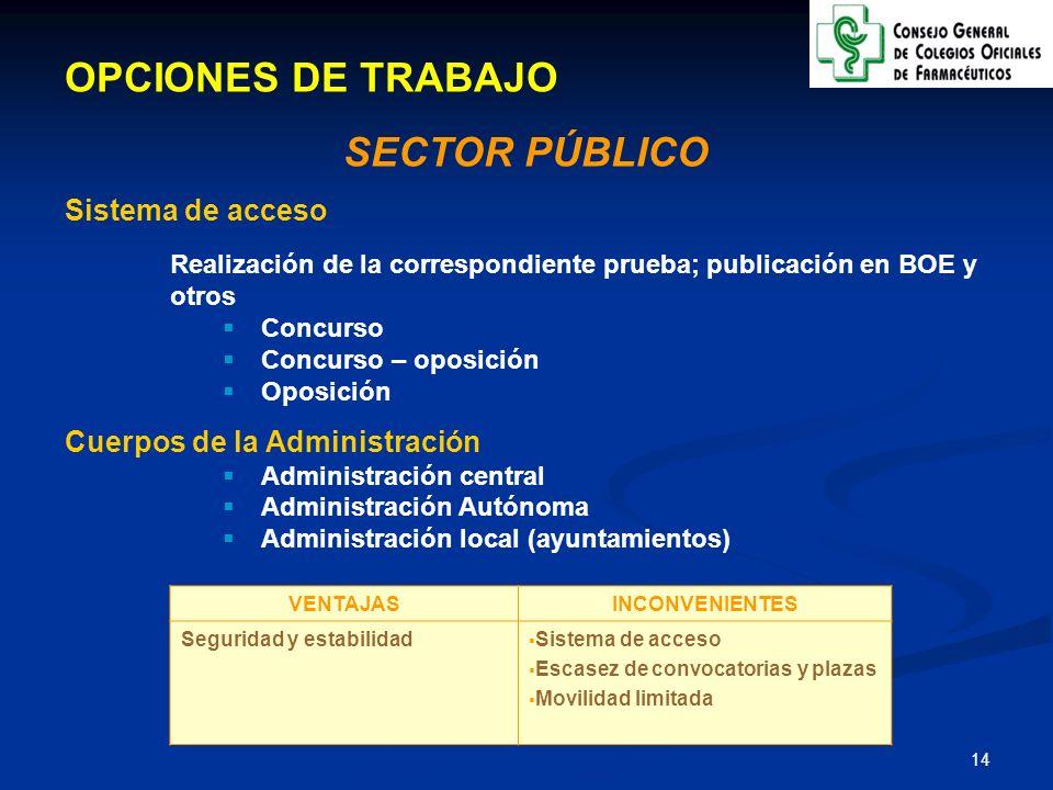 OPCIONES DE TRABAJO SECTOR PÚBLICO Sistema de acceso