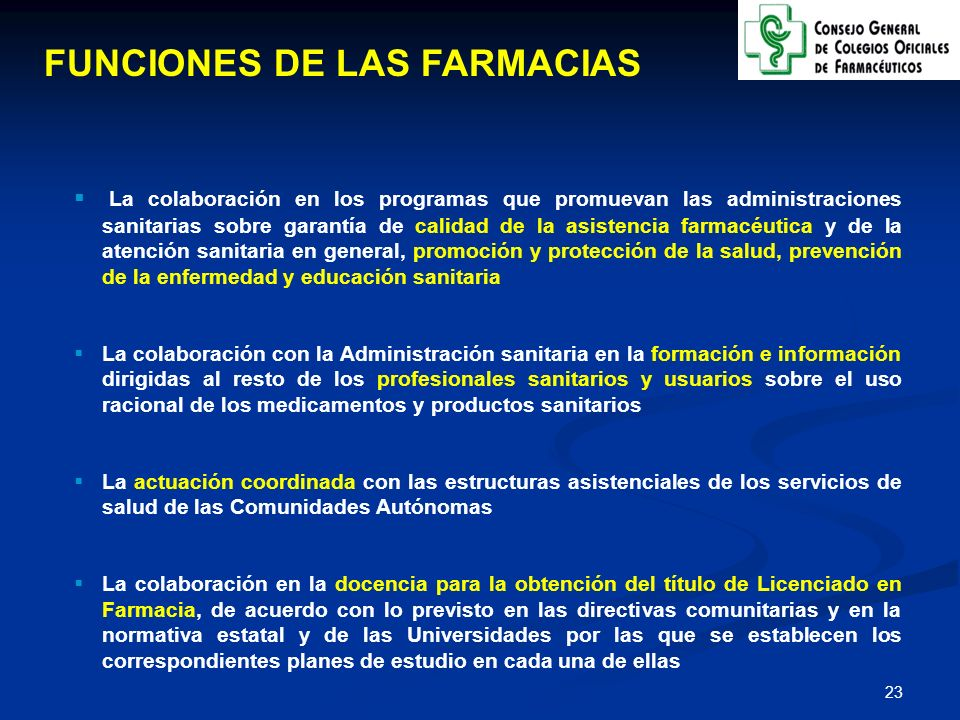 FUNCIONES DE LAS FARMACIAS