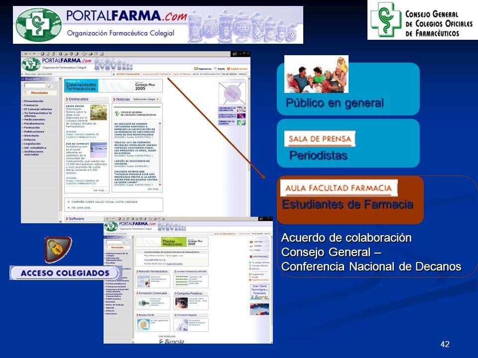 Público en general Periodistas. Estudiantes de Farmacia. Acuerdo de colaboración. Consejo General –
