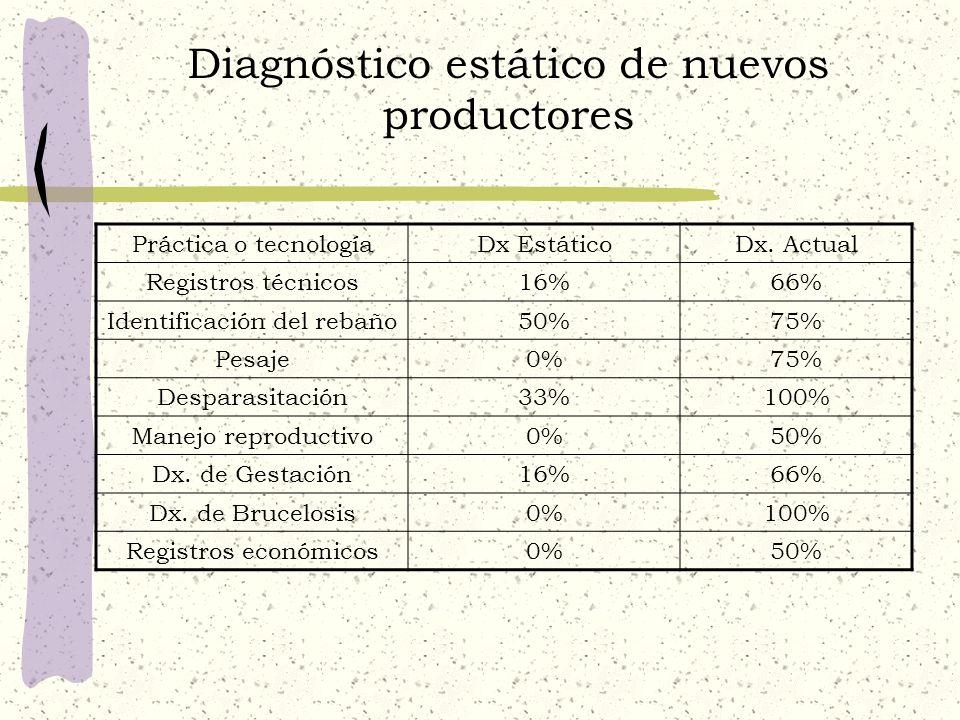 Diagnóstico estático de nuevos productores