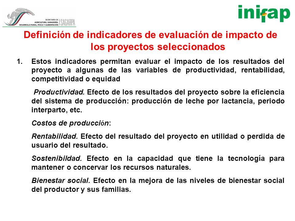 Definición de indicadores de evaluación de impacto de los proyectos seleccionados