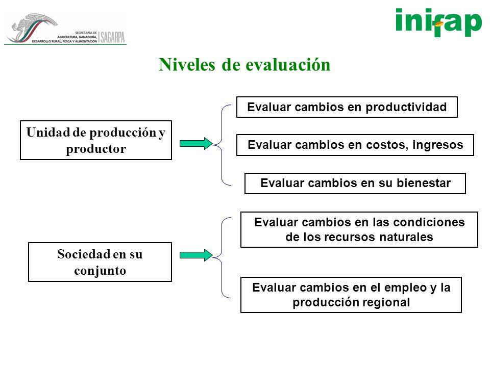 Niveles de evaluación Unidad de producción y productor