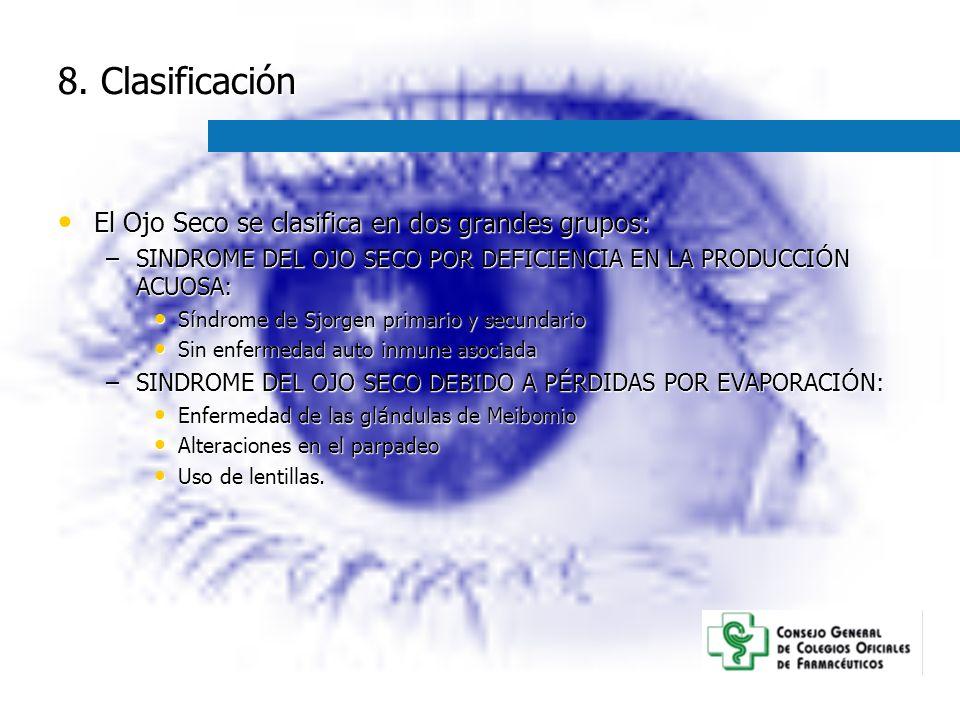 8. Clasificación El Ojo Seco se clasifica en dos grandes grupos: