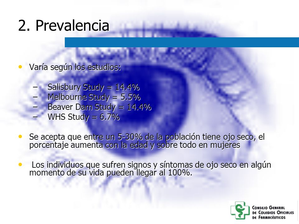 2. Prevalencia Varía según los estudios: Salisbury Study = 14.4%
