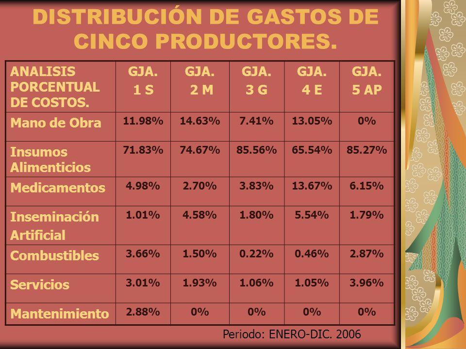 DISTRIBUCIÓN DE GASTOS DE CINCO PRODUCTORES.
