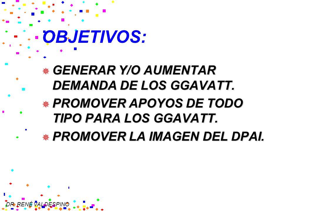 OBJETIVOS: GENERAR Y/O AUMENTAR DEMANDA DE LOS GGAVATT.