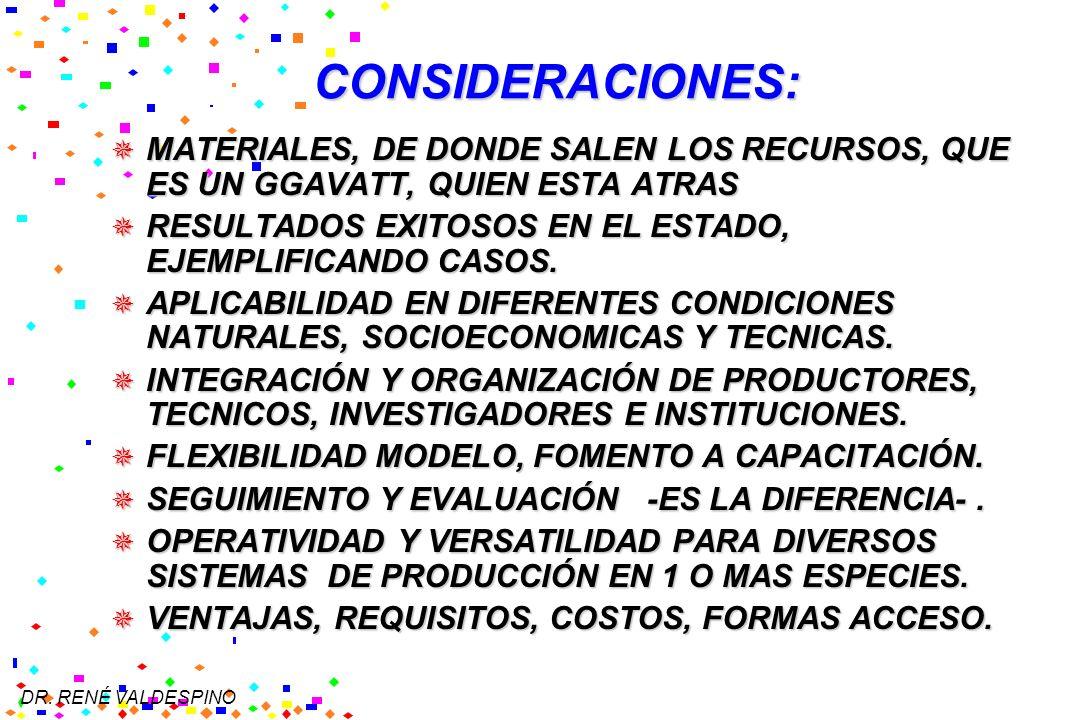 CONSIDERACIONES: MATERIALES, DE DONDE SALEN LOS RECURSOS, QUE ES UN GGAVATT, QUIEN ESTA ATRAS.