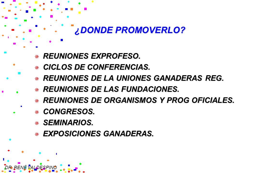 ¿DONDE PROMOVERLO REUNIONES EXPROFESO. CICLOS DE CONFERENCIAS.