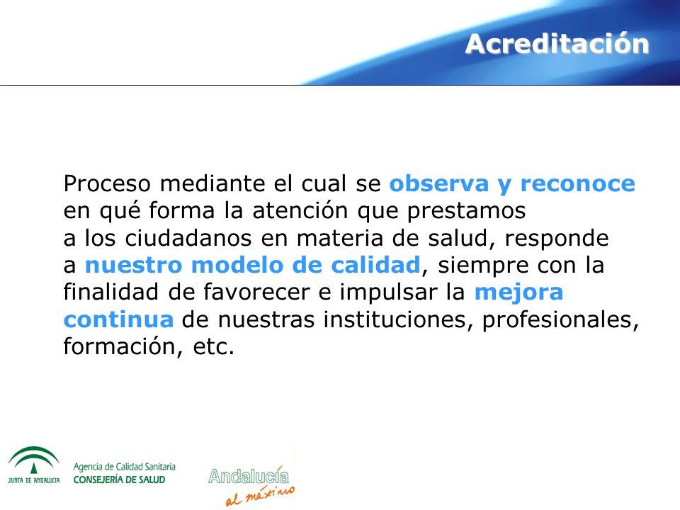 Acreditación Proceso mediante el cual se observa y reconoce