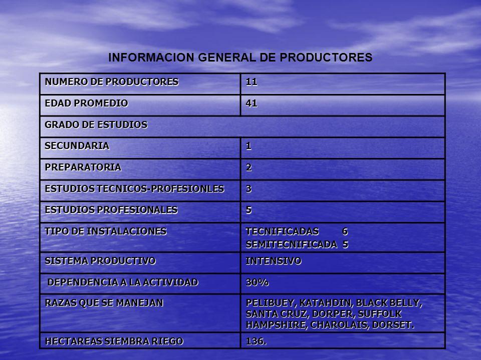 INFORMACION GENERAL DE PRODUCTORES