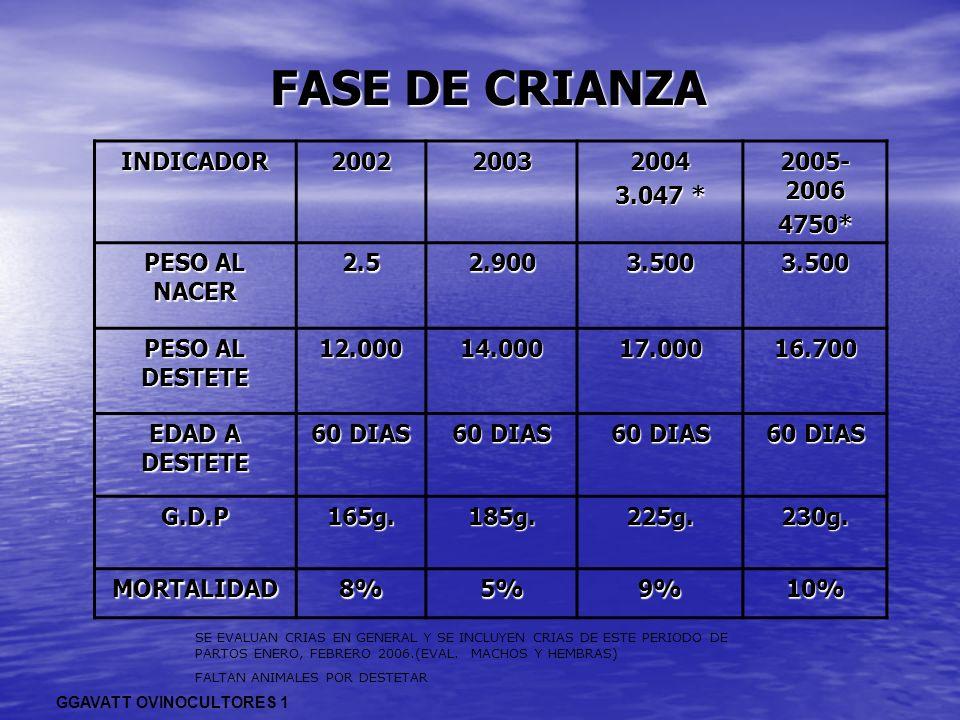 FASE DE CRIANZA INDICADOR 2002 2003 2004 3.047 * 2005-2006 4750*