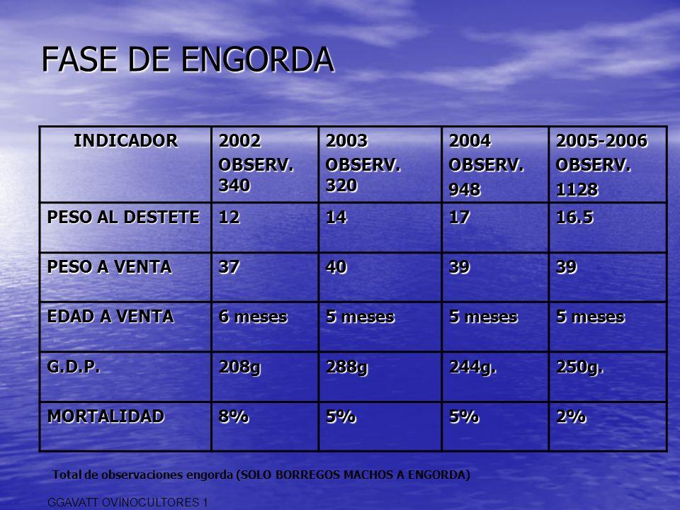 FASE DE ENGORDA INDICADOR 2002 OBSERV. 340 2003 OBSERV. 320 2004