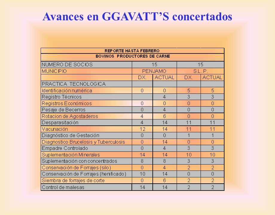 Avances en GGAVATT'S concertados
