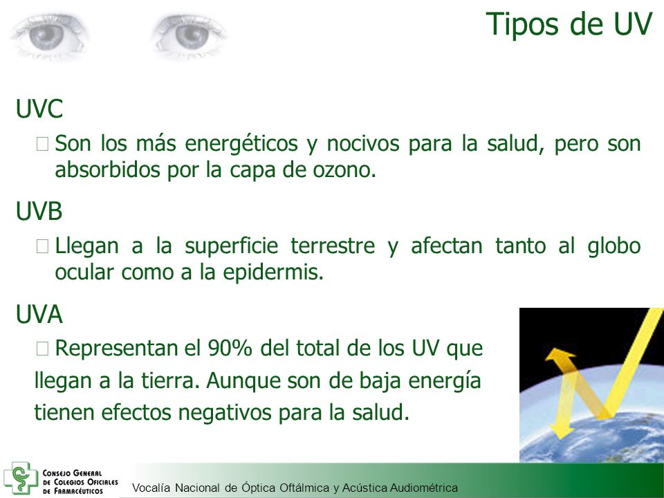 Tipos de UV UVC. Son los más energéticos y nocivos para la salud, pero son absorbidos por la capa de ozono.