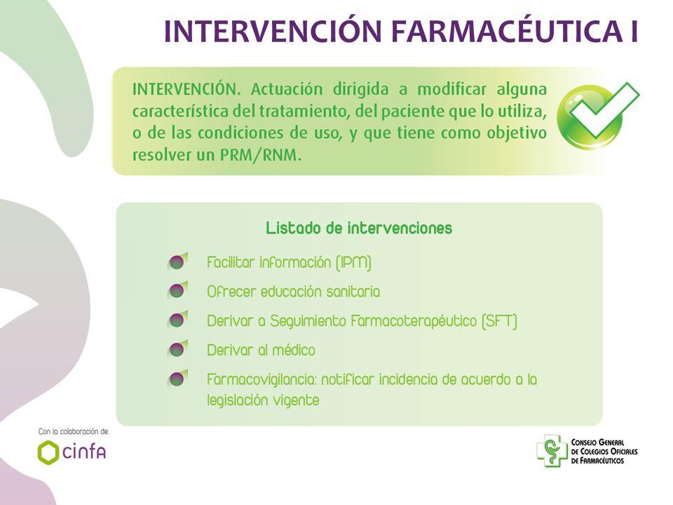 INTERVENCIÓN FARMACÉUTICA I