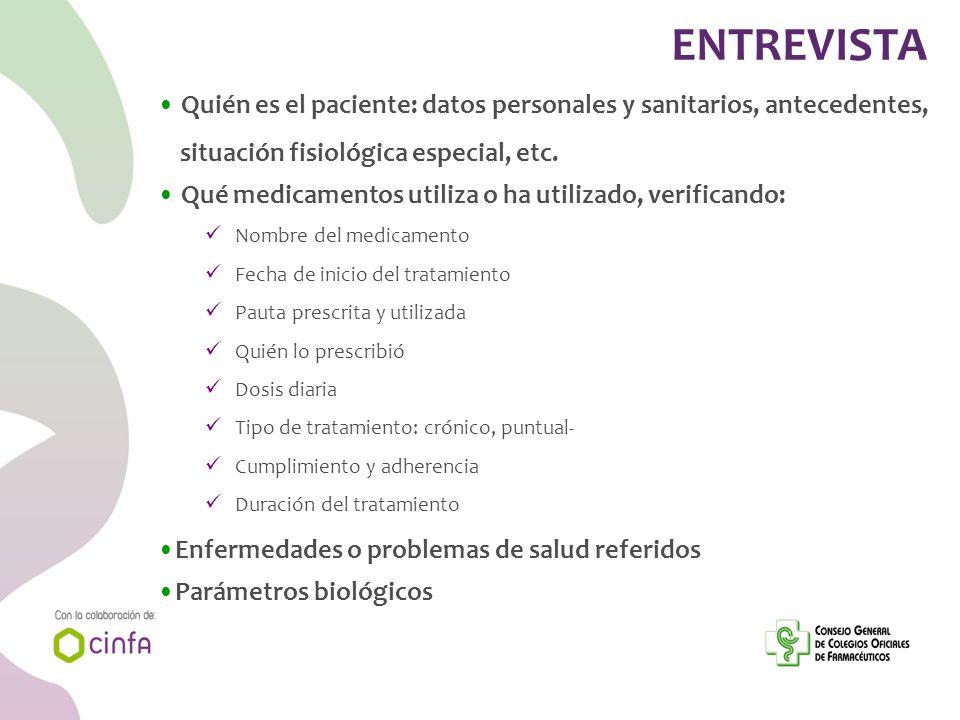ENTREVISTA Quién es el paciente: datos personales y sanitarios, antecedentes, situación fisiológica especial, etc.