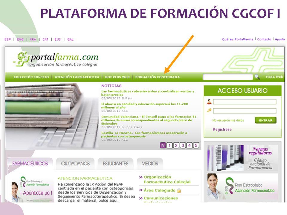 PLATAFORMA DE FORMACIÓN CGCOF I