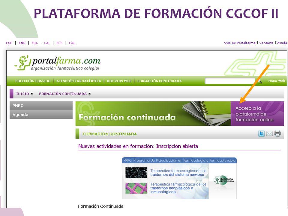 PLATAFORMA DE FORMACIÓN CGCOF II