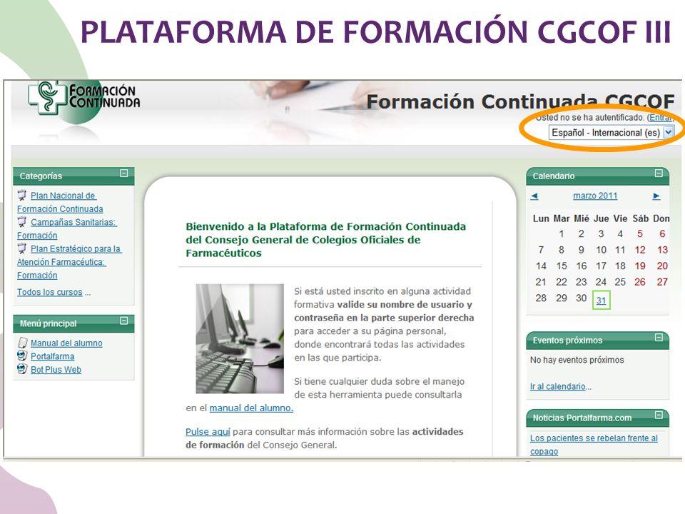 PLATAFORMA DE FORMACIÓN CGCOF III
