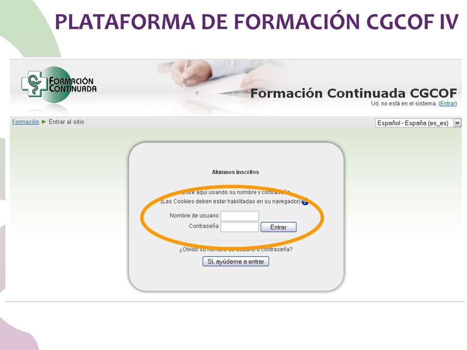 PLATAFORMA DE FORMACIÓN CGCOF IV
