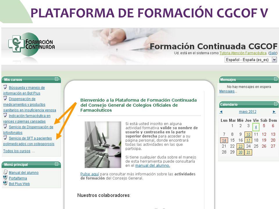 PLATAFORMA DE FORMACIÓN CGCOF V