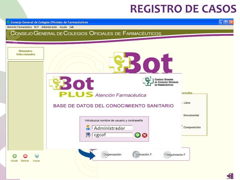 REGISTRO DE CASOS Administrador cgcof