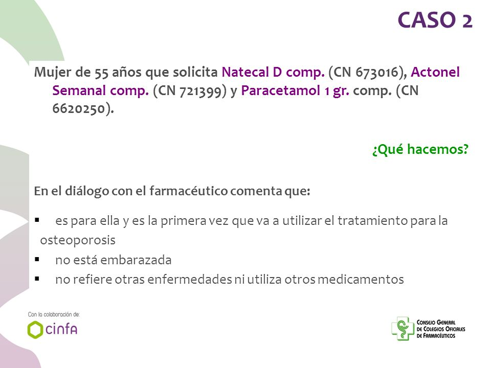 CASO 2 Mujer de 55 años que solicita Natecal D comp. (CN 673016), Actonel Semanal comp. (CN 721399) y Paracetamol 1 gr. comp. (CN 6620250).