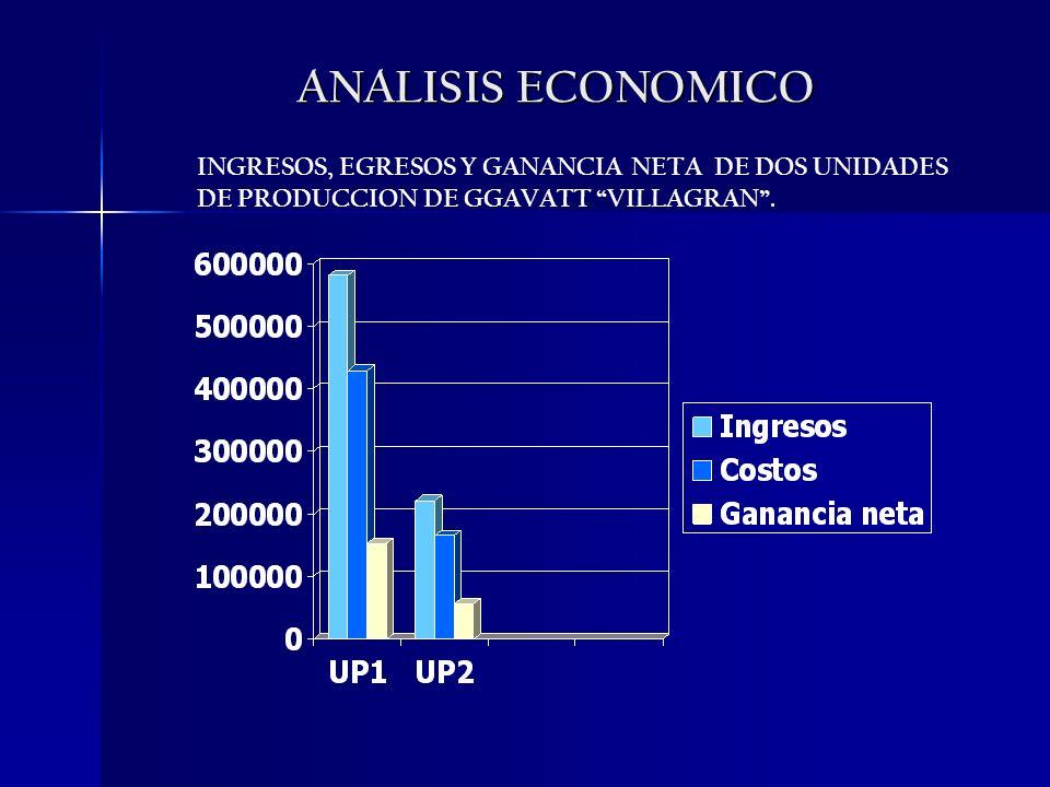 ANALISIS ECONOMICO INGRESOS, EGRESOS Y GANANCIA NETA DE DOS UNIDADES DE PRODUCCION DE GGAVATT VILLAGRAN .