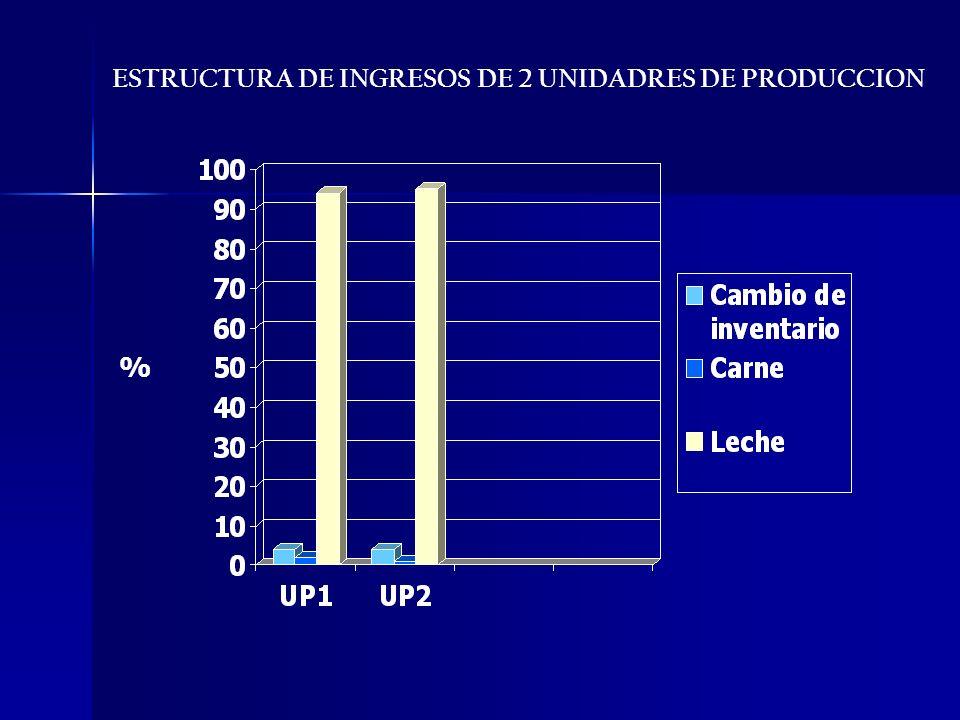 ESTRUCTURA DE INGRESOS DE 2 UNIDADRES DE PRODUCCION