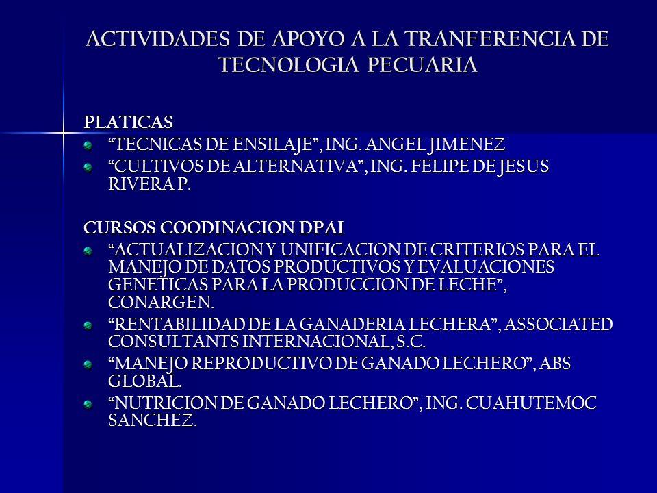 ACTIVIDADES DE APOYO A LA TRANFERENCIA DE TECNOLOGIA PECUARIA