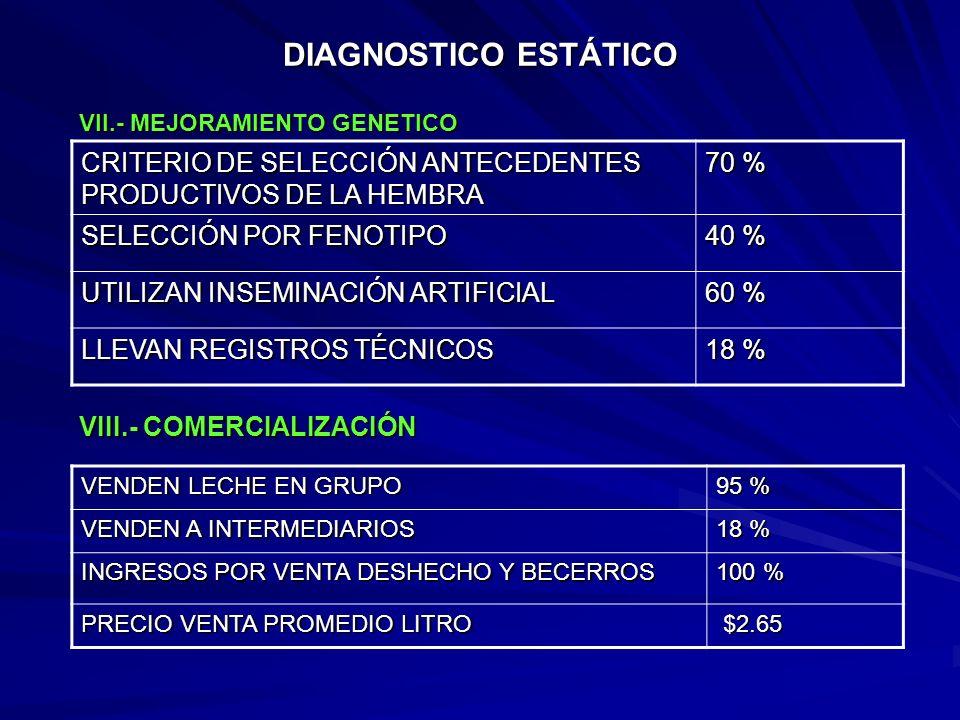 DIAGNOSTICO ESTÁTICO VII.- MEJORAMIENTO GENETICO. CRITERIO DE SELECCIÓN ANTECEDENTES PRODUCTIVOS DE LA HEMBRA.