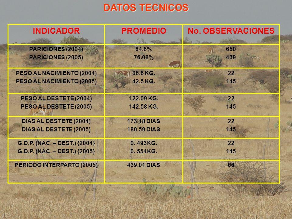 DATOS TECNICOS INDICADOR PROMEDIO No. OBSERVACIONES PARICIONES (2004)