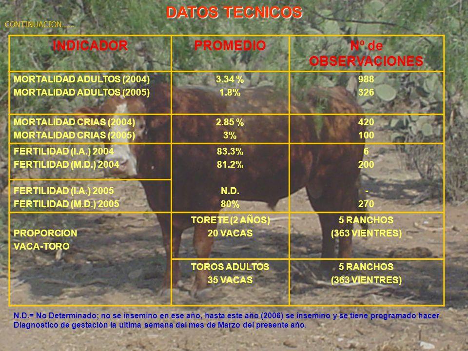 DATOS TECNICOS INDICADOR PROMEDIO Nº de OBSERVACIONES