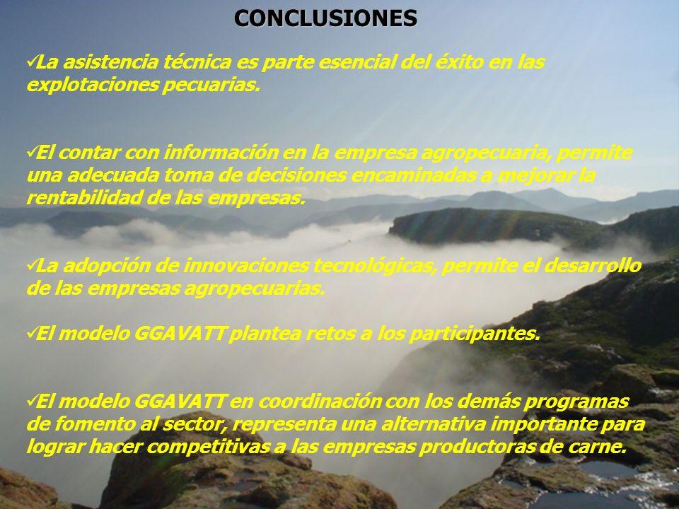 CONCLUSIONESLa asistencia técnica es parte esencial del éxito en las explotaciones pecuarias.