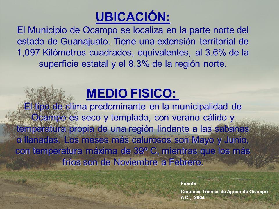 UBICACIÓN: El Municipio de Ocampo se localiza en la parte norte del estado de Guanajuato. Tiene una extensión territorial de 1,097 Kilómetros cuadrados, equivalentes, al 3.6% de la superficie estatal y el 8.3% de la región norte. MEDIO FISICO: El tipo de clima predominante en la municipalidad de Ocampo es seco y templado, con verano cálido y temperatura propia de una región lindante a las sabanas o llanadas. Los meses más calurosos son Mayo y Junio, con temperatura máxima de 39º C, mientras que los más fríos son de Noviembre a Febrero.