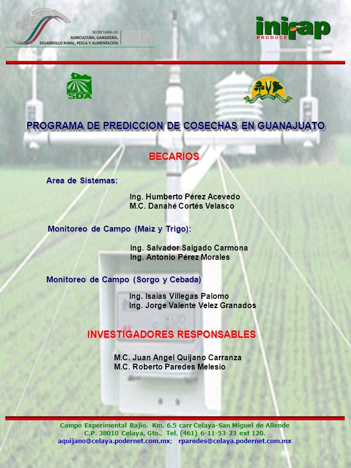 PROGRAMA DE PREDICCION DE COSECHAS EN GUANAJUATO