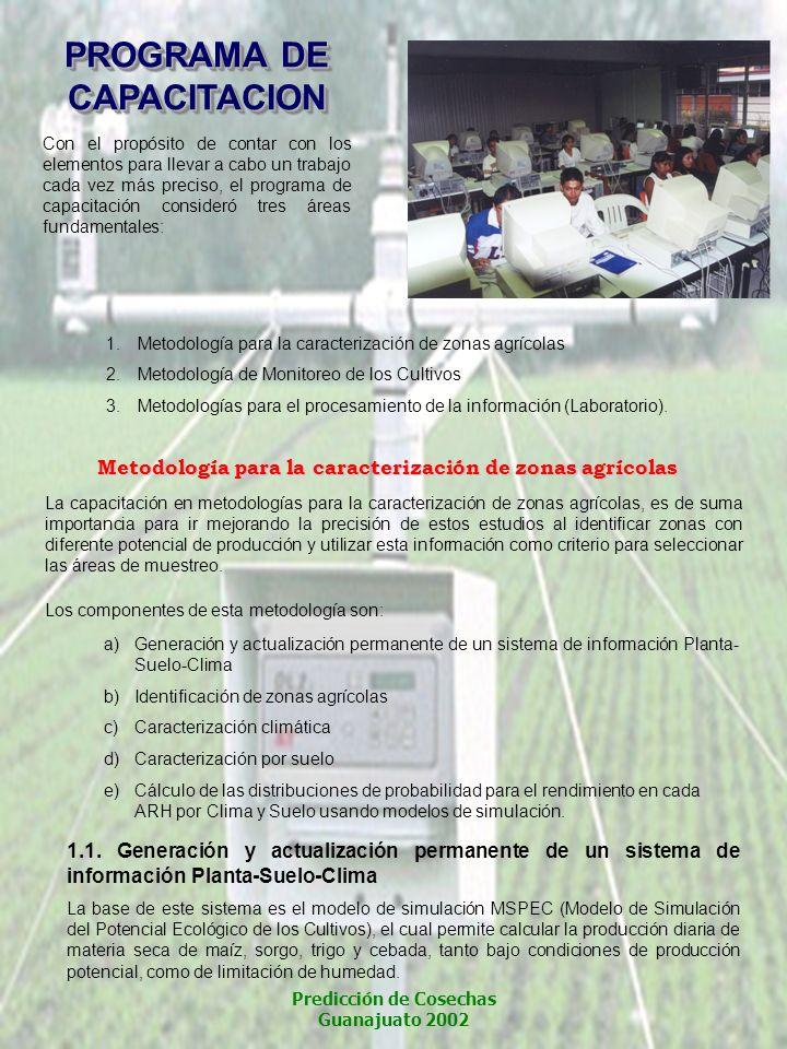 PROGRAMA DE CAPACITACION Predicción de Cosechas Guanajuato 2002