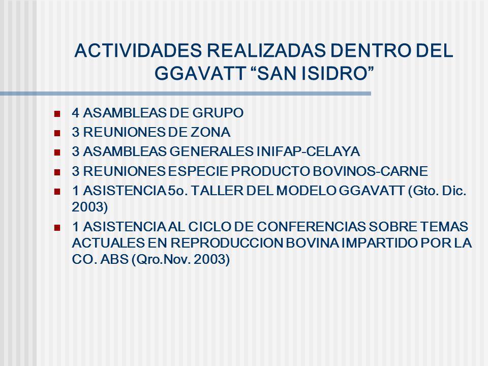 ACTIVIDADES REALIZADAS DENTRO DEL GGAVATT SAN ISIDRO