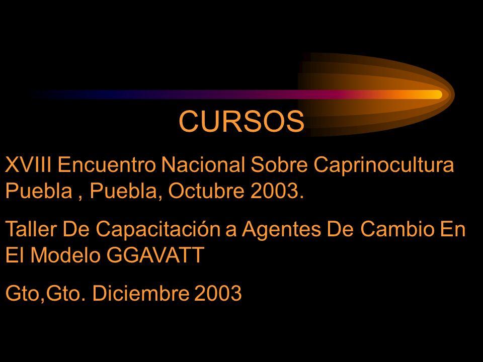 CURSOS XVIII Encuentro Nacional Sobre Caprinocultura Puebla , Puebla, Octubre 2003. Taller De Capacitación a Agentes De Cambio En El Modelo GGAVATT.
