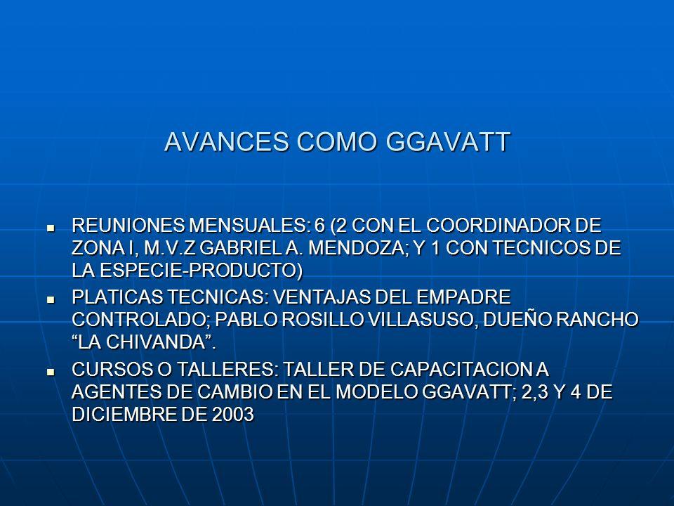 AVANCES COMO GGAVATT REUNIONES MENSUALES: 6 (2 CON EL COORDINADOR DE ZONA I, M.V.Z GABRIEL A. MENDOZA; Y 1 CON TECNICOS DE LA ESPECIE-PRODUCTO)