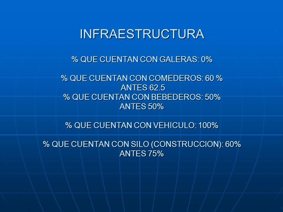 INFRAESTRUCTURA % QUE CUENTAN CON GALERAS: 0% % QUE CUENTAN CON COMEDEROS: 60 % ANTES 62.5 % QUE CUENTAN CON BEBEDEROS: 50% ANTES 50% % QUE CUENTAN CON VEHICULO: 100% % QUE CUENTAN CON SILO (CONSTRUCCION): 60% ANTES 75%