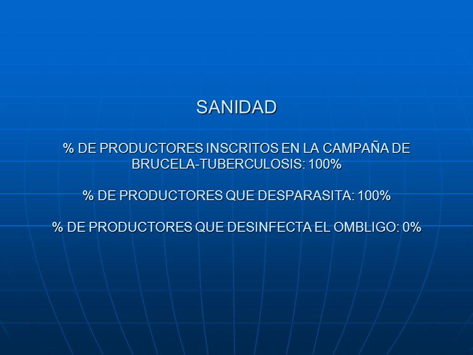SANIDAD % DE PRODUCTORES INSCRITOS EN LA CAMPAÑA DE BRUCELA-TUBERCULOSIS: 100% % DE PRODUCTORES QUE DESPARASITA: 100% % DE PRODUCTORES QUE DESINFECTA EL OMBLIGO: 0%