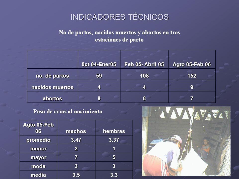 No de partos, nacidos muertos y abortos en tres estaciones de parto