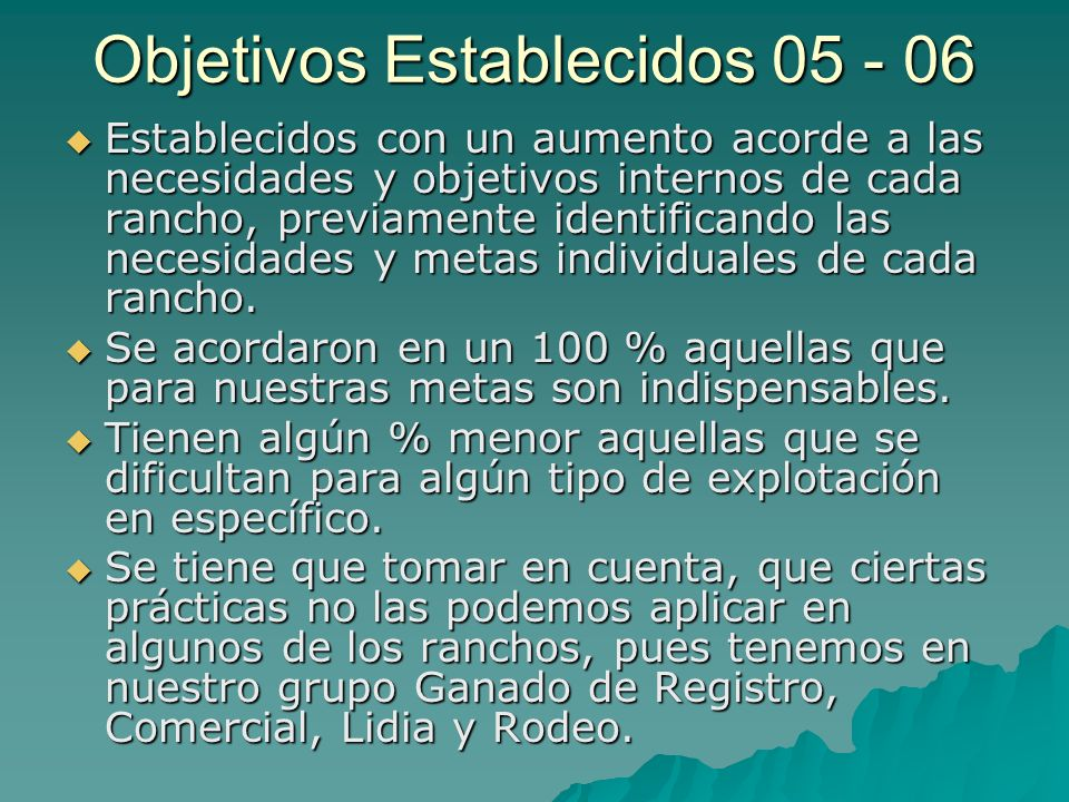 Objetivos Establecidos 05 - 06