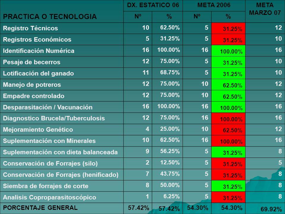 PRACTICA O TECNOLOGIA DX. ESTATICO 06 META 2006 META MARZO 07 Nº %