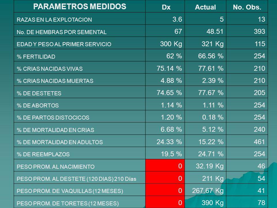 PARAMETROS MEDIDOS Dx Actual No. Obs. 3.6 5 13 67 48.51 393 300 Kg