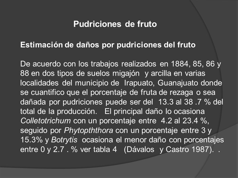 Pudriciones de fruto Estimación de daños por pudriciones del fruto