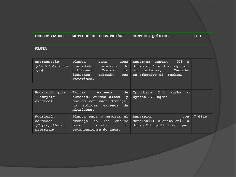 ENFERMEDADES MÉTODOS DE PREVENCIÓN CONTROL QUÍMICO ISD FRUTA