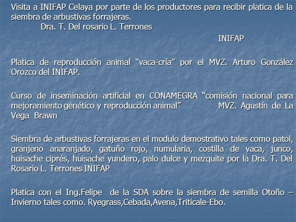Visita a INIFAP Celaya por parte de los productores para recibir platica de la siembra de arbustivas forrajeras. Dra. T. Del rosario L. Terrones